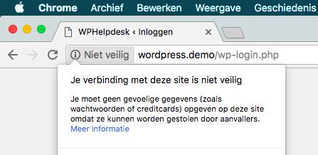 Geen SSL melding in Chrome op pagina met invoervelden