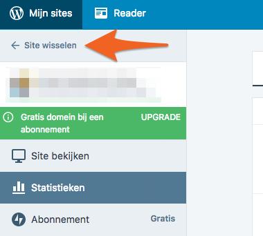 Wanneer je meerdere sites beheerd heb je de optie voor 'site wisselen'