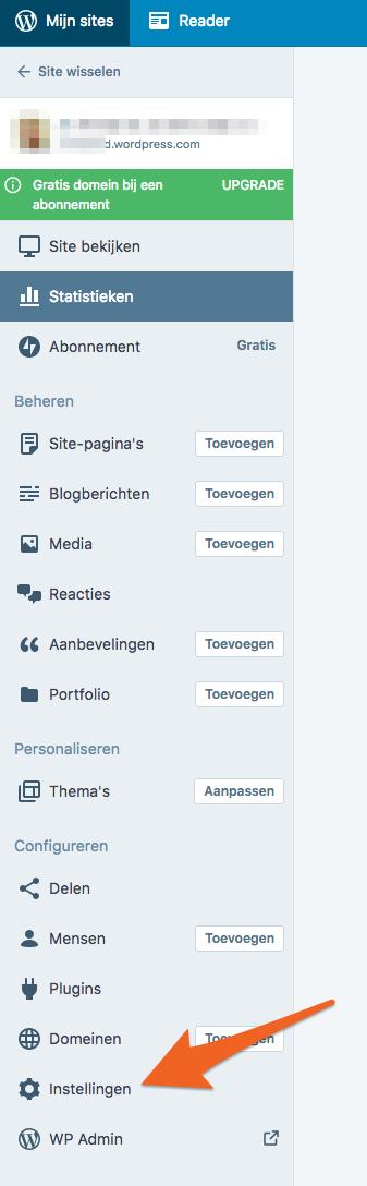 Hier kan je aanpassingen doen aan de instellingen van de website.