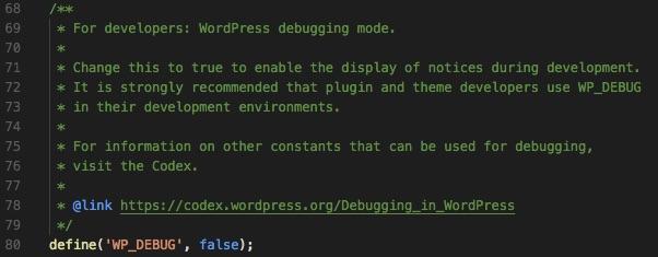 wp-config.php met de wp_debug regel in beeld