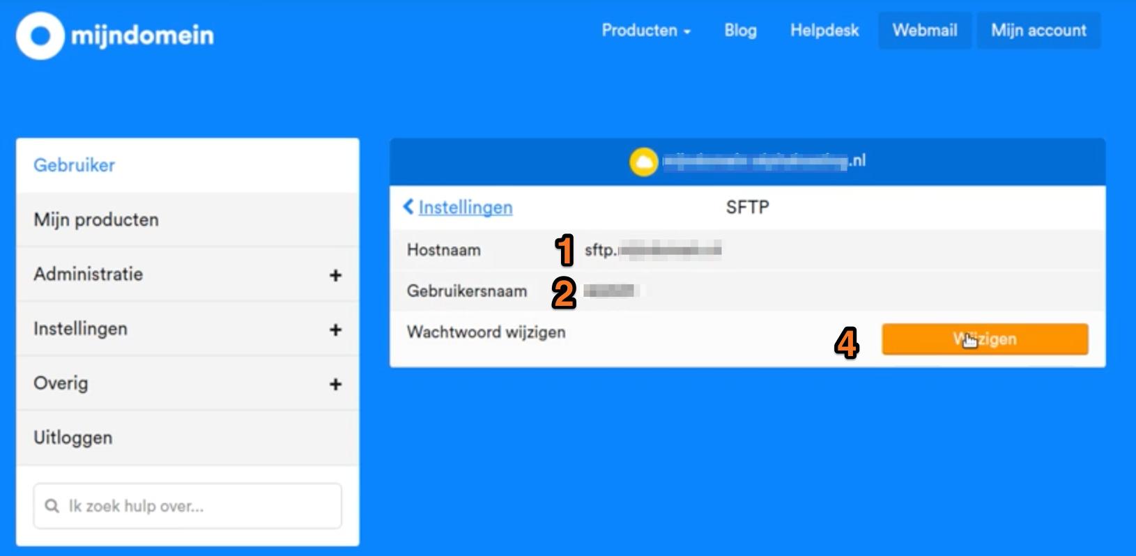 voorbeeld van het MijnDomein beheerpaneel sftp gegevens overzicht
