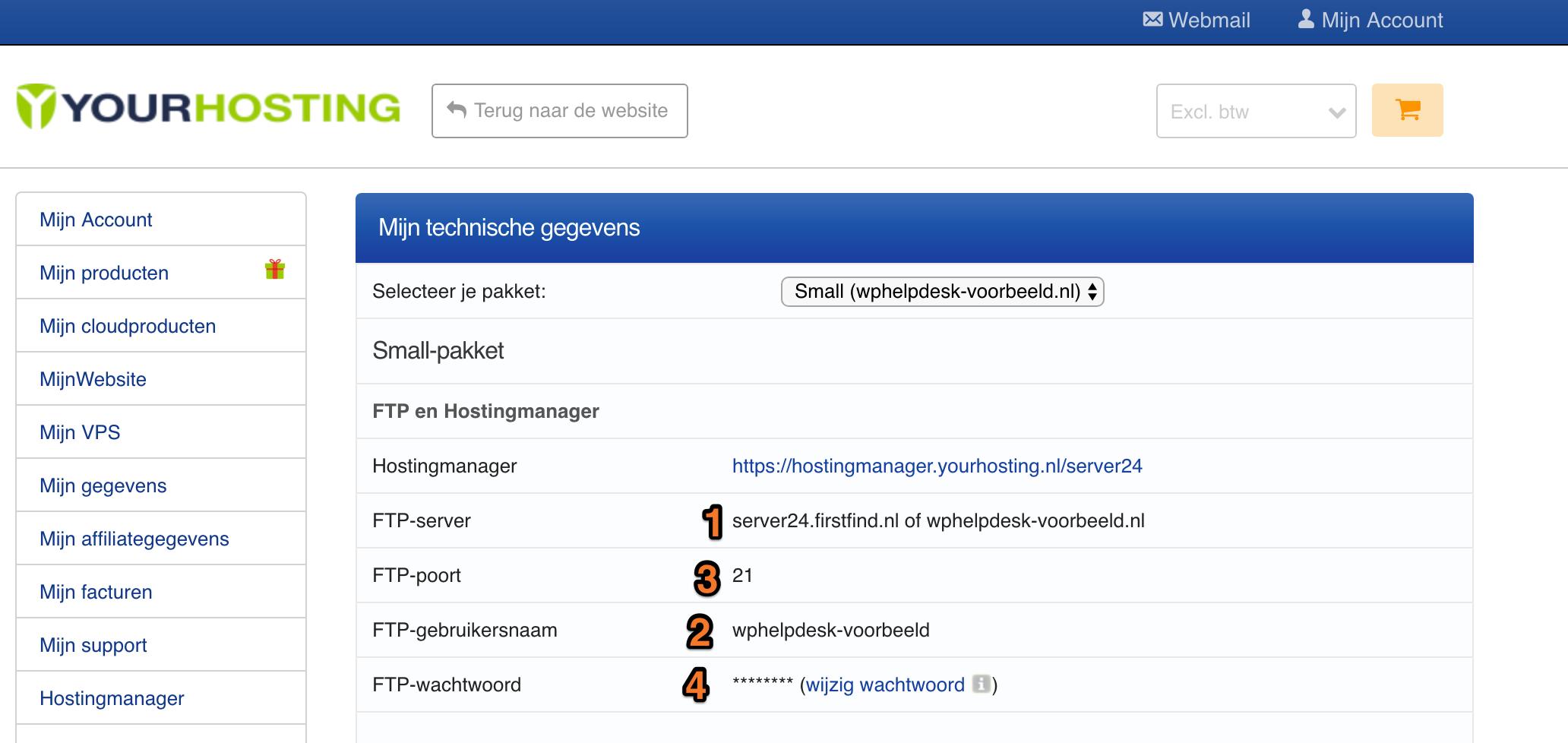 voorbeeld van het yourhosting beheerpaneel sftp gegevens overzicht