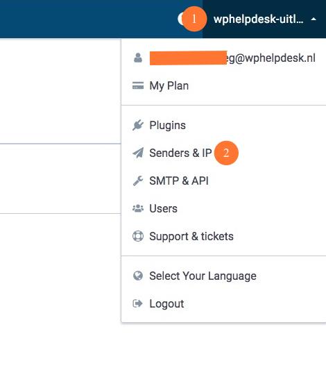 Het verzenden gebeurt nu via Send in Blue.  Om er voor te zorgen dat E-mails beter aankomen en de kans te verkleinen dat ze in de spammap terecht komen moet je het afzend domein nog verifieren. Dat doe je door rechts boven (1) op je account naam te klikken en vervolgens op Senders & IP (2)