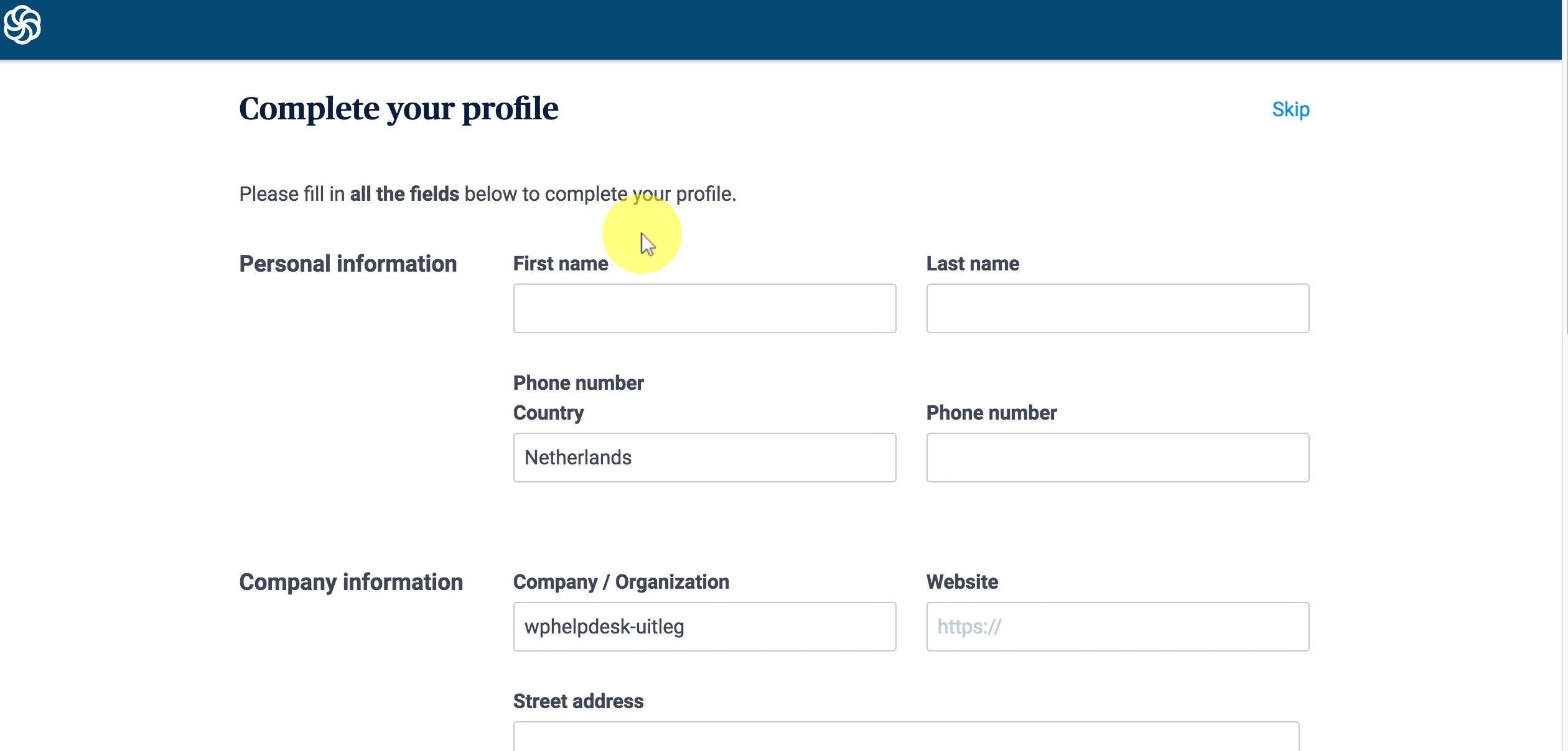 Volg de stappen om je profiel compleet te maken. Klik onderaan de pagina op Complete my profile