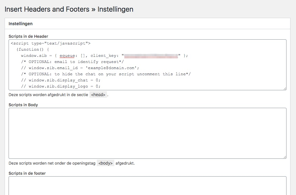 Schermafbeelding van de plugin instellingen met de code er in