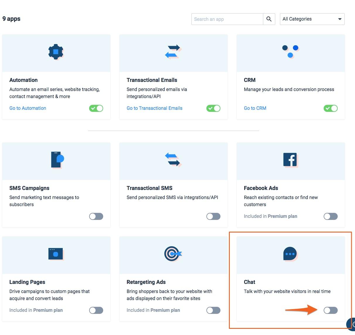Beschikbare apps in Send in Blue, chat omlijnt