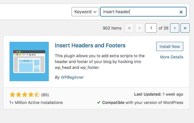 schermafbeelding van insert header and footer plugin